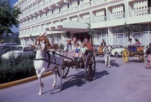 ourists enjoy a buggy ride outside Peshawar's Hotel Intercontinental (1975).