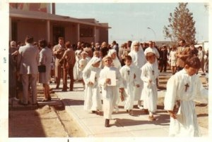 A 1972 picture showing European visitors and local Christians seen during a passing out ceremony at a Catholic school in Rawalpindi