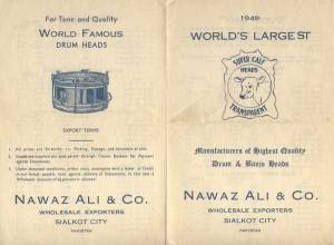 A 1951 brochure of a Pakistani company (based in Sialkot) specialising in the making of musical instruments from wood and cow skin. Sialkot is still famous around the world for its quality sporting products (especially cricket bats, hockey sticks and footballs), but for many years it was also one of the top producers and exporters of music instruments. Many western pop and jazz musicians used drums made in Sialkot across the 1950s and 1960s.