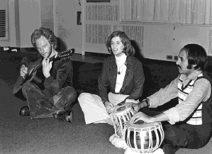 Western tourists jam with a Pakistani tabla player in Karachi (1975).