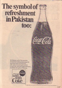 A 1968 press ad of Coca-Cola. This ad also appeared in American newspapers.