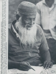 A 1970 photo of famous Pakistani leftist leader and firebrand, Abdul Hamid Bhasani (also known as Maulana Bhashani). Bhashani, a Bengali, was one of the founders of Pakistan's first large leftist party the National Awami Party (NAP), that he formed with progressive and Marxist Mohajirs, Sindhi nationalist, GM Syed, Baloch nationalist, Gahus B. Bezinjo, and Pushtun nationalist, Bacha Khan. Though a devout Muslim, Bhashani was fiercely leftist in his politics and a great supporter of Chinese communism. In 1968 he broke away from NAP's pro-Soviet leaders, Bezinjo and Wali Khan (who formed NAP-Wali), and formed his own faction, NAP-Bhashani. After the break-up of Pakistan in 1971, Bhashani moved to the newly formed Bangladesh. He died in 1976.