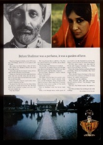 1970 press ad of a perfume named after Lahore's historic Shalimar Garden.
