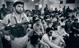 1980 photograph of various Afghan Islamist groups in Peshawar that began gathering in Pakistan after the Soviet Union invaded Afghanistan in December 1979.