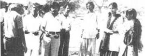 A rare photo of future MQM chief, Altaf Hussain (fifth from left), with friends outside the Arts Department of the University of Karachi in 1977.