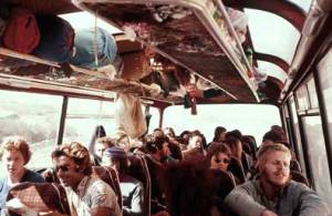 Western tourists entering Pakistan from Afghanistan on a bus in 1975.