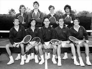 Pakistan's first tennis star and Davis Cup winner, Haroon Rahim (fourth from top left) with American and British Davis Cup players (1970, Karachi). Rahim got into America's prestigious UCLA and continued representing Pakistan in various international tournaments. However, sometime in 1977 Rahim married an American girl and moved to the US. But within a few years he cut all contact with his family and vanished. His family never heard from him again.