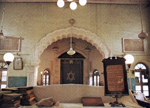 The interior of a Jewish synagogue that was situated in Karachi's Ranchore Lines area.  The synagogue was regularly frequented by a small Jew community that resided in the city but migrated to the US and Israel soon after Karachi became part of Pakistan, even though the synagogue was never attacked nor damaged.