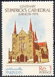A special stamp released by the government of Pakistan to mark the centenary of St. Patrick's Cathedral in Karachi (1978).