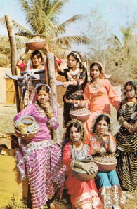 Pakistani models posing as Punjab's village womenfolk during an international cultural exchange event in 1969.