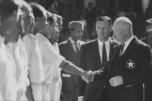 Visiting American President, Dwight Eisenhower, being introduced to the Pakistan cricket team at Karachi's National Stadium in 1959. Eisenhower arrived with Pakistani head of state, Ayub Khan, to watch the first session of a Pakistan vs. Australia cricket Test match.