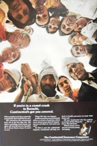 a 1967 press ad published in LIFE magazine for the American insurance company, Continental Insurance. The number of American and British tourists visiting Pakistan began to grow from the early 1960s. The trend hit a peak in the late 1970s before starting to dwindle and peter out in the mid-1980s. It (in a tongue-in-cheek manner) addresses those traveling to Karachi and getting injured during a 'camel crash.'