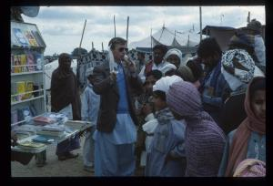 American Christian evangelist addressing Pakistani Christians and converts in a village near Abbotabad in 1977.