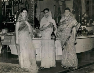 American and Pakistani models exhibit saris made in Pakistan during a 1961 Import/Export festival in the US. Along with India, Pakistan was one of the leading designers, makers and exporters of saris. It was also the preferred choice of urban middle and upper-middle-class women of the country till about the late 1970s and worn by them during festivals like weddings, parties and even Eid.