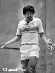 Before the great Janagir Khan and Jansher Khan in squash there was Qamar Zaman. Here he is seen arguing with the umpire while on his way to beat the then No: 1, the Australian, Jeff Hunt, during a final played in Karachi in 1976.