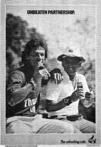 Imran Khan was one of the first Pakistani cricketers to appear in press ads and TV commercials. Here he is seen with Indian batsman, Sunil Gavaskar, in a 1979 ad for Indian soft-drink, Thumbs-up.