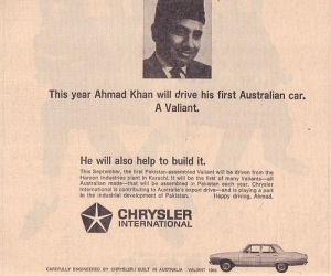 A 1966 Pakistani press ad announcing the launch of famous Australian car, Valiant, in Pakistan. It was one of the first cars to be assembled in Pakistan.
