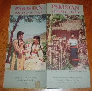 1963 brochure printed by the government of Pakistan. The influx of western tourists arriving in the country had risen by the time this brochure was published. It contained maps and names of famous tourist spots, beaches, mountain resorts, hotels, nightclubs and bars in the country (both in West and former East Pakistan).