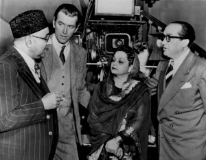 Former Pakistani Prime Minister, Liquat Ali Khan (left), having a chat with famous Hollywood actor and star James Stewart (second from left) in Lahore (1951). Also seen in the picture is Liaquat's wife, Begum Liaquat. Liquat was assassinated the same year in the Pakistani city of Rawalpindi.