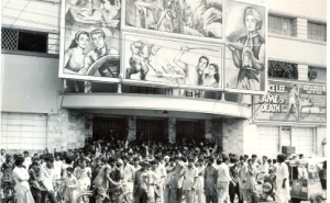 1973 shot of a mass of film enthusiasts gathered outside the famous Nishat Cinema in Karachi to watch '7 Voyages of Sindbad'. Just behind the main hoarding is a smaller board advertising the 'coming soon' flick, 'Game of Death' staring Martial Arts expert and movie star, Bruce Lee. Just like they did around the world, Bruce Lee films also became hugely popular with Pakistani audiences. They played to packed houses, especially at Nishat, a movie theatre that was inaugurated by the sister of Pakistan's founder, Muhammad Ali Jinnah, but burned down by a mob of religious fanatics in September 2012.