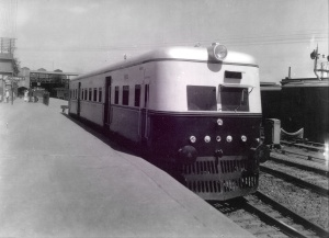 A modern 'rail car' made in Pakistan with the collaboration of Japanese engineers parked at the Lahore Railway Station in 1964.
