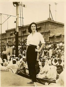 Ava Gardner shooting a scene at the Lahore Railway Station in 1954.