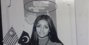 Pakistani actress and model, Bindia, at a cultural festival in Karachi (1975).