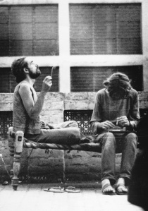 It is a picture of real hippies enjoying a few puffs of hashish on the roof of a cheap hotel in Peshawar in 1972. Yes, Peshawar. Pakistan was an important destination that lay on what was called the 'hippie trail' – an overland route taken by young western and American bag-packers between 1967 and 1979 and that ran from Turkey, across Iran, Afghanistan, Pakistan and India, usually ending in Nepal. Numerous low-budget hotels and a thriving tourist industry sprang up (in Peshawar, Lahore and Karachi) to accommodate these travellers.