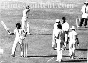 Pakistani star batsman, Javed Miandad, smashes the stumps after being given out LBW in a test match against India (1979)