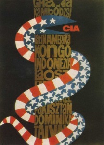 This poster attacking the 'imperialist grip of the American CIA' over various 'third world countries' (including Pakistan) began appearing on the walls of colleges and universities of Karachi and Lahore in 1968. The poster was originally designed in South America but was reproduced in Pakistan by radical leftist student groups during their movement against the Ayub Khan dictatorship (1968-69)