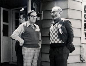 1976 photo of Pakistan's Nobel Prize winning scientist, Dr. Abdus Salam (right), with a colleague at a summer college held at Pakistan's scenic Nathiyagali resort.
