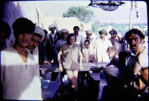 Two hippie tourists at a tea shop in Sibi, Balochistan, in 1972.