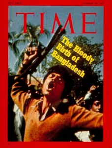 The December 1971 cover of Time magazine. The main story detailed the breaking away of former East Pakistan (after a bloody civil war with the West Pakistan army) . The picture is that of a Bengali militant celebrating the defeat of the West Pakistan military.