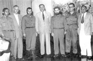 Che Ernesto Guevara, standing along side Pakistan's first military dictator, Ayub Khan. Guevara stayed for a short while in Karachi during his whirlwind tour of Arab and third world countries (in 1959). He again visited Karachi in 1965