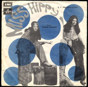 Cover of the soundtrack album (LP) of 1974 box-office hit, Miss Hippie. The film depicted the 'effect hippie lifestyle and fashion were having on Pakistani youth.' (sic) Starring popular 1970s Pakistani film actress, Shabnam, the film conveniently forgot that more than half of the hashish that was being consumed by the 'invading hippies' was actually being produced and smuggled in and from Pakistan!