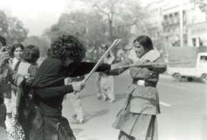 1980 photograph is from a violent protest held by female college students (in Lahore) against the Zia regime's 'masochistic attitude' towards women.