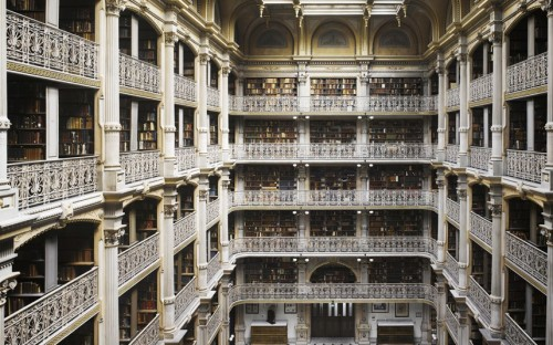 George Peabody was the founder of the charity which continues to finance housing for low-income families in London; he also endowed the Peabody Institute in Baltimore, of which this seven-storey library comprises just part.