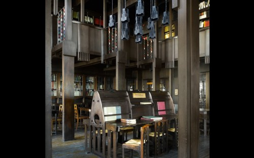 Every element in the library of the Glasgow School of Art (1909) was designed by Charles Rennie Mackintosh, who had taken evening classes in architecture at the university in 1883.