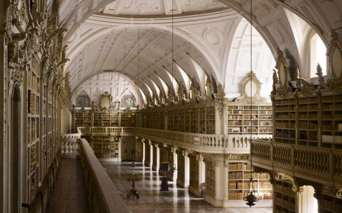 Since its opening in 1771, the Mafra Palace Library has been home to a colony of tiny bats; they roost behind the cases in winter, and in the orchard outside in the summer, swooping in during the night to eat insects which would otherwise damage the books.