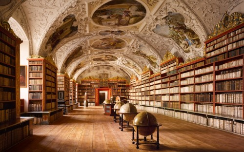 The Rococo ceiling of the Theological Hall at Strahov Abbey was added 40 years after the room was initially completed; the masonry vaulting offered a degree of protection from fire – a huge problem in medieval and Renaissance libraries as coal or wood fires were used for heating.