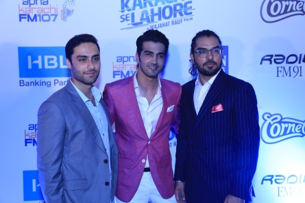 Ahmed Ali, Shahzad Sheikh and Yasir Hussain at the Lahore premiere of Karachi Se Lahore
