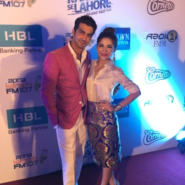 Shahzad Sheikh and Ayesha Omar at the Lahore premiere of Karachi Se Lahore